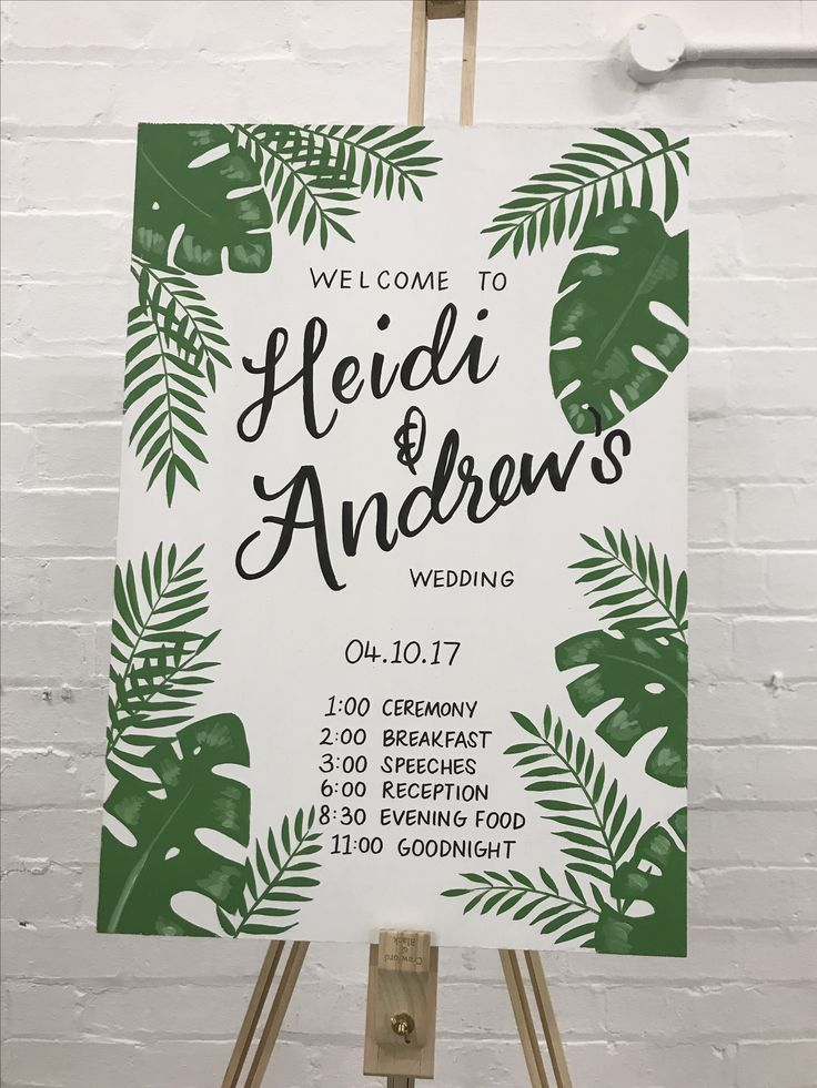 Hand painted wedding sign botanical themed by www.lesserthan3.com