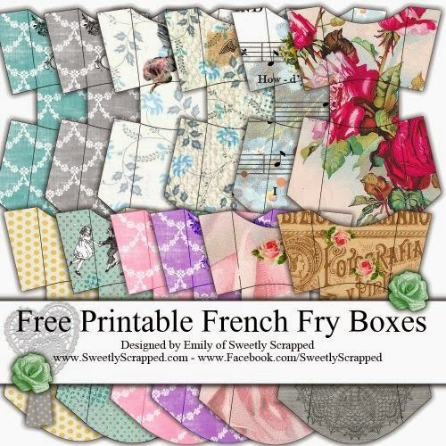 Free printable french fry boxes and a blank template too #crafts #DIY