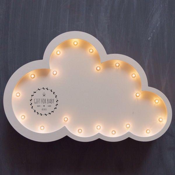 Купить Светильник ночник Облако - голубой, светильник, светильник ручной работы, светильник из дерева, ночник