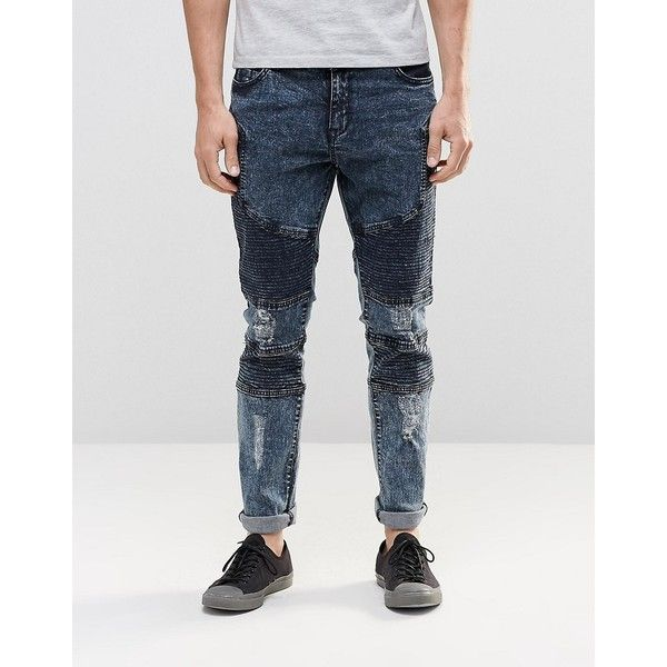 Systvm Biker Jean Nickel Seep Distressed ($68) ❤ liked on Polyvore  featuring men's fashion, men's clothing, men's jeans, grey, mens ripped  jeans, mens acid ... - Best 25+ Grey Skinny Jeans Mens Ideas On Pinterest Mens