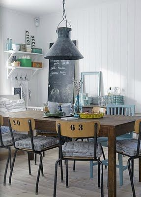 #interior #styling #dining #decor #industrial #recycled #vintage #lamp #pendant #chair #chalkboard #shelves #bookshelves #storage #grey #white #wood #black