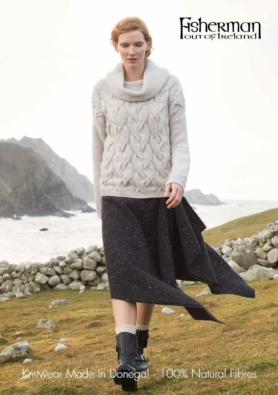 Giant Cabled Cowl Neck Sweater Fisherman Out of Ireland Knitwear 100% Natural Fibres