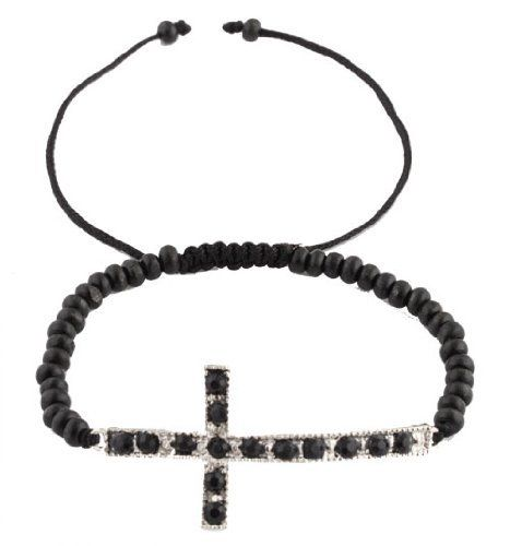 Silver with Black Iced Out Sideways Cross Matching Wooden Beaded Adjustable Bracelet JOTW. $0.01. 100% Satisfaction Guaranteed!. Great Quality Jewelry!
