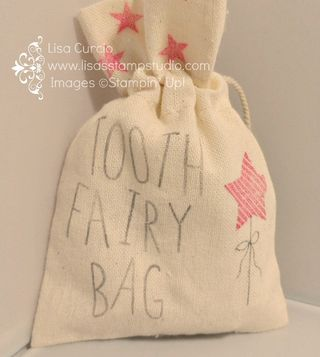 Tooth Fairy Bag - create it in minutes!  Makes a great gift any time of the year. Stampin' Up!, mini muslin bag, Christmas Bliss, baby, toddler, 1 year old, birthday, gift, Festival of Trees, Skinny Mini Alphabet, card, paper, scrapbook, craft, rubber, stamps, www.lisasstampstudio.com