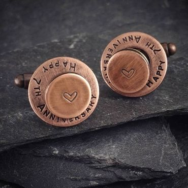 Personalised Copper Cufflinks with washers. Copper anniversary gift.