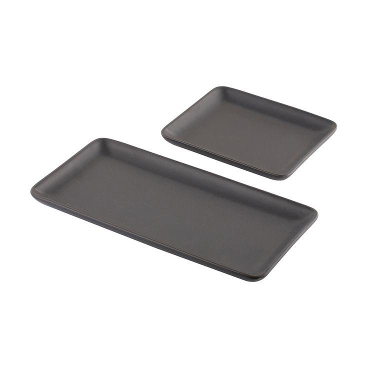 2 Matte Black Platters   Kmart