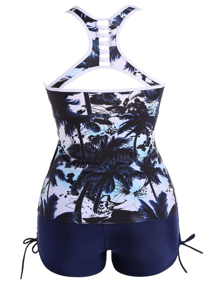 Plus Size Hawaiian Print Moulded Racerback Tankini Bathing Suit - DEEP BLUE 3XL