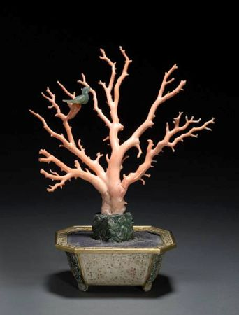 A coral branch and jade mounted jardinière. Late Qing dynasty