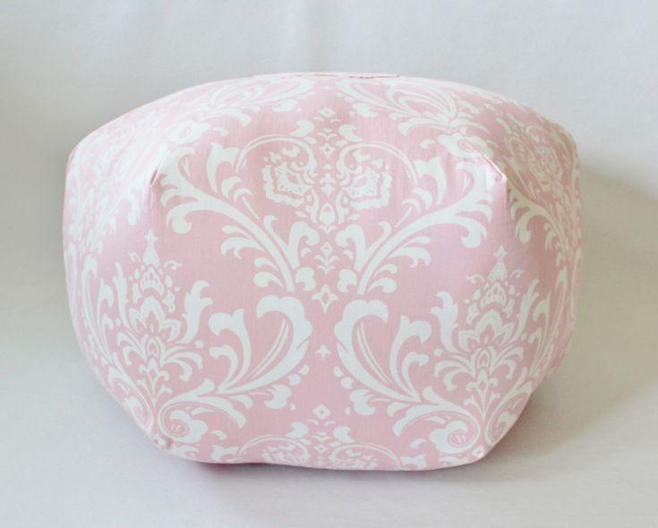 Pink Pouf, Pink Ottoman, Nursery decor girl, floor cushion, Footstool, by jackandbeedesigns on Etsy https://www.etsy.com/listing/509734321/pink-pouf-pink-ottoman-nursery-decor