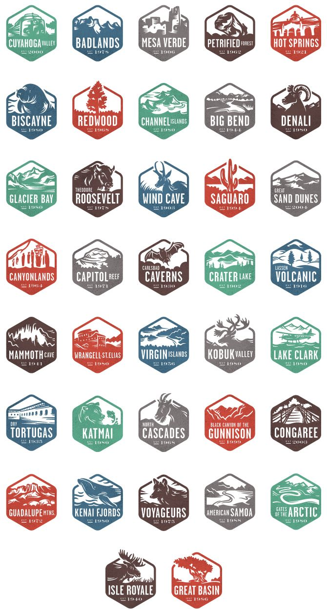 National Parks -could make great stickers for a National Parks map (thinking about making one for the garage...)
