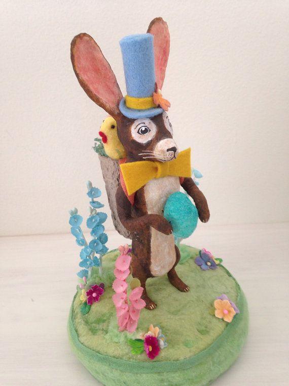 Spun cotton rabbit centerpiece by Maria Paula  by MRCROWSGARDEN