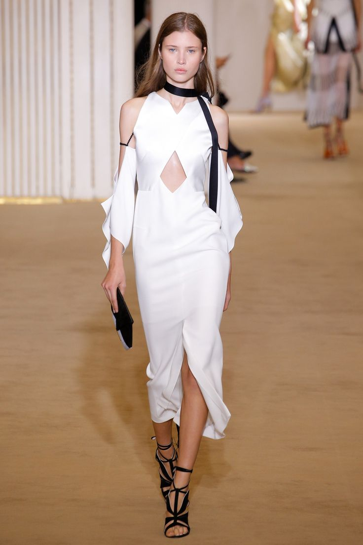 Roland Mouret | Spring 2017 Ready-to-Wear collection | RTW fashion | White Cold Shoulder Dress
