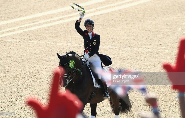 Charlotte Dujardin of Great Britain riding Valegro celebrates after winning the…
