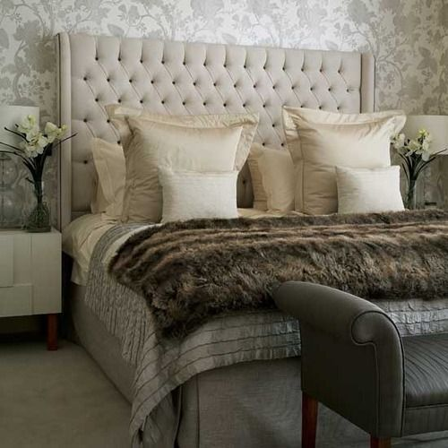 Neutral Bedroom {love faux fur blankets}