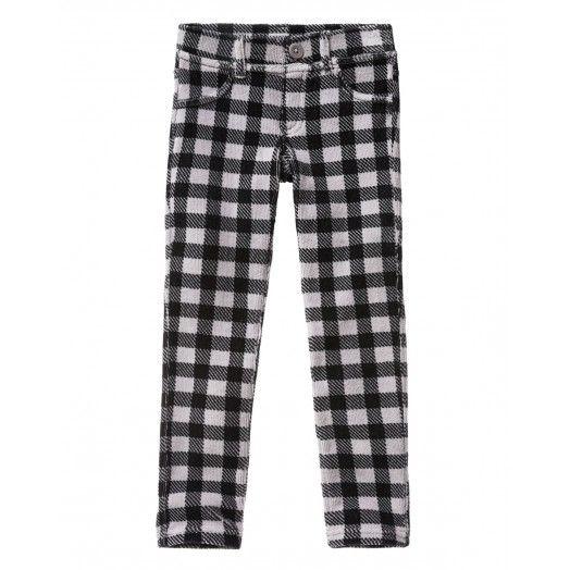 Four-Pocket-Hose in Skinny Stretch aus Chenille mit fünf Tunnenschlaufen am Bund, Zierleisten hinten und All-over-print.