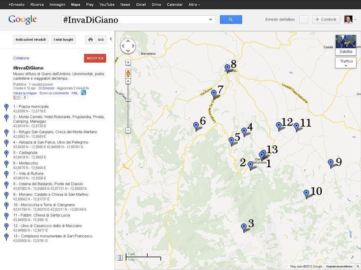 La mappa dell'invasione con coordinate satellitari #InvaDiGiano2015 #invasionidigitali