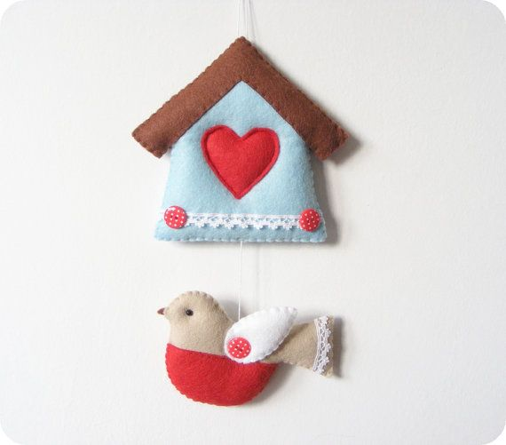 PDF pattern - Felt bird and house ornament. DIY easy sewing pattern, wall or door hanging decoration, handmade via Etsy