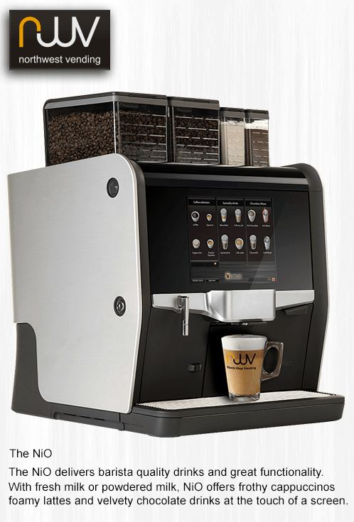 NIO, the stylish and functional super automatic coffee machine, adequate words to describe this very versatile machine. One or two types of fresh bean coffee, one or two grinders, add chocolate and powdered milk options or a four litre fresh milk fridge. Add a payment system and take contactless credit and debit cards or even payments by your mobile phone. @coffee machine @espresso @office coffee machine @touch screen