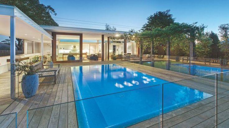 The vast decking area and pool at 31 Holyrood Street Hampton.