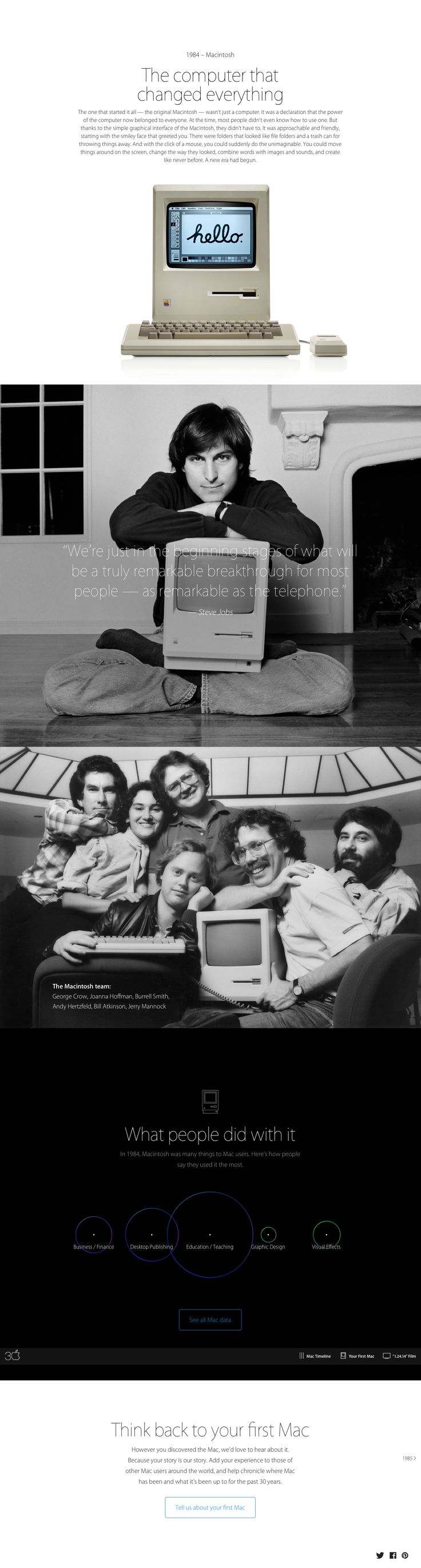 "Apple Mac @30 2014-01-24 off'l Anniversary mini site: USA ""Apple - Thirty Years of Mac"" - page: ••1984 US•• http://www.apple.com/30-years/1984"