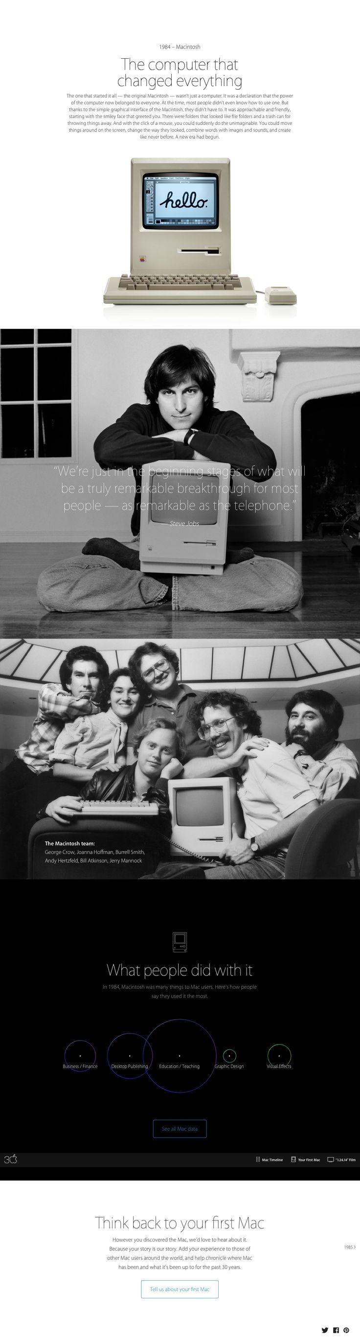 "Apple Mac @30 2014-01-24 off'l Anniversary mini site: USA ""Apple - Thirty Years of Mac"" - page: ••1984 US•• http://www.apple.com/30-years/1984"
