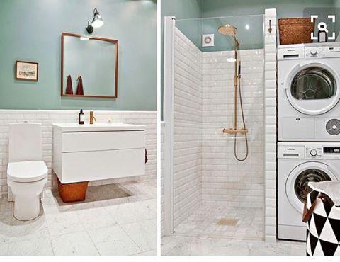 Har du ett superlitet badrum men behöver få in alla funktioner? Här kommer ett tjusigt Pinteresttips!  Såhär skulle jag gärna ha det hemma i 70-talsradhuset!  #blanddammochdekor #badrum #litetbadrum #halvkakel #tvättmaskin #kakel #tips #radhus #70talsradhuset