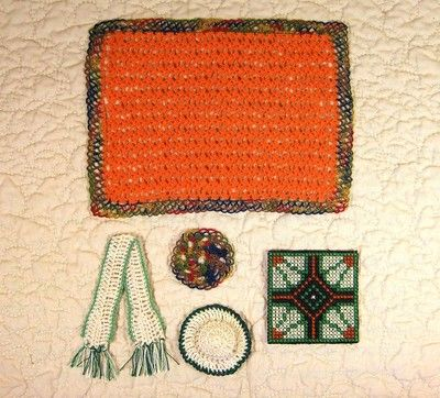 """""""winter is coming"""" -- I listed this miniature dollhouse set on eBay tonight.  The color palette is pure autumn.  I crocheted the tiny afghan with sewing thread!"""