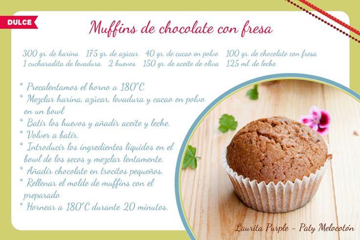 Receta de muffins de chocolate con fresa