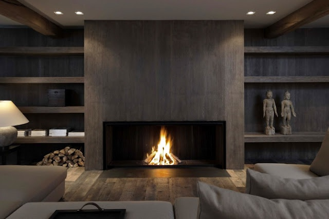 Upscale Living Room With Low Contemporary Fireplace And