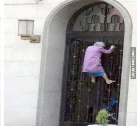 Spidergranny...this will be us..trying to escape from the home when they refuse us coffee and chocolate! @Gracen Banning