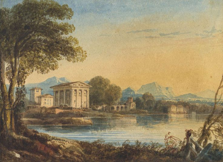 Continental Lakeside - 19th Century Watercolour