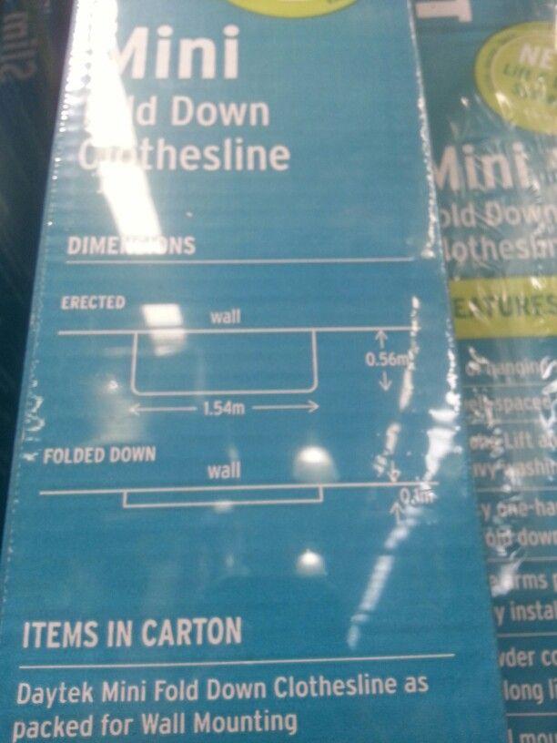 $79 Daytek @ Bunnings 1.54W x 0.56D mtr 9mtr line space 10yr warranty 6 lines Grey