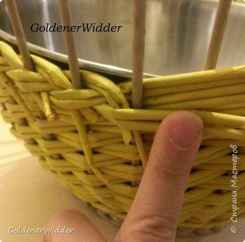 Мастер-класс Поделка изделие Плетение Послойное плетение двойными трубочками загибка-розга двойная ручка +MK Бумага газетная Трубочки бумажные фото 6