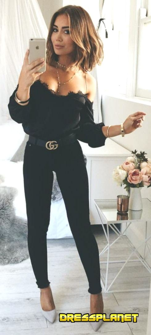 295d25d0d1d Frauen Kleiden Frühling 2019 -  spring  outfits Black Off The Shoulder Top  + Black