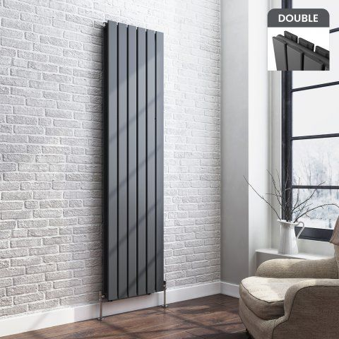Thera Vertical Flat Panel Designer Gas Radiator in Anthracite 1800mm x 458mm - soak.com