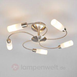 LED-Deckenleuchte-Zariah-Glas-Metall-E14-LED-Wohnzimmer-Deckenlampe-Flur-5-fl