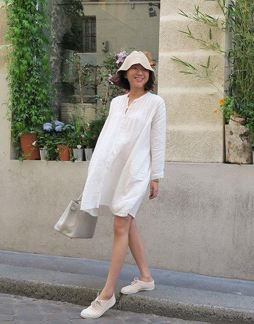 PIN-TUCK SHOULDER SHIFT DRESS