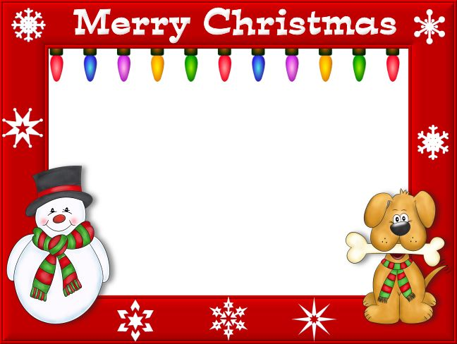 "Free Christmas Picture Border Frames | Cute Christmas Snowman and Puppy Frame with ""Merry Christmas"" Text"
