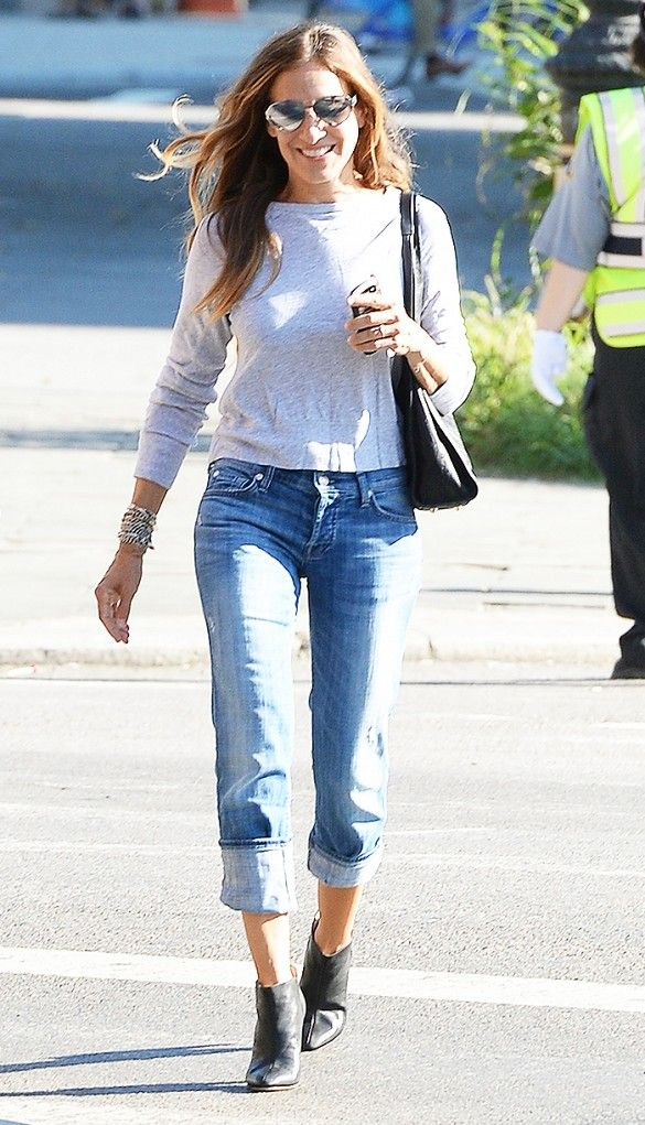 Sarah Jessica Parked in a grey tee, cuffed jeans and leather ankle boots