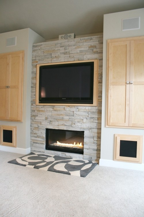 Fireplace With Maple/birch Side Cabinets