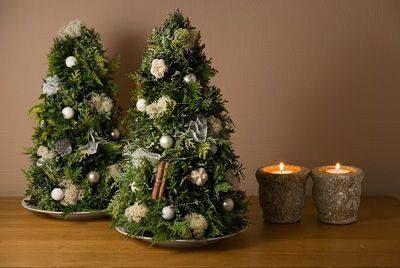 Deze leuke kerstboompjes zelf maken , dit heb je nodig : Een Styropor (Piepschuim) kegel bekleden met bv mos of ander bladgroen (dit kan ook met een oase -kegel )Dit kun je vastzetten met kramhaken, binddraad of lijm !! Versieren met allerlei kleine frutsels en je boompje is klaar. Gezellig toch