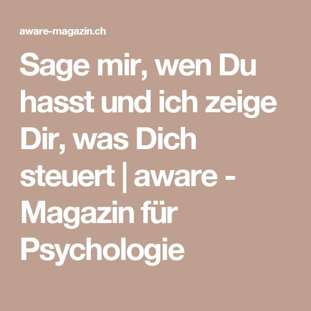 Sage mir, wen Du hasst und ich zeige Dir, was Dich steuert   aware - Magazin für Psychologie