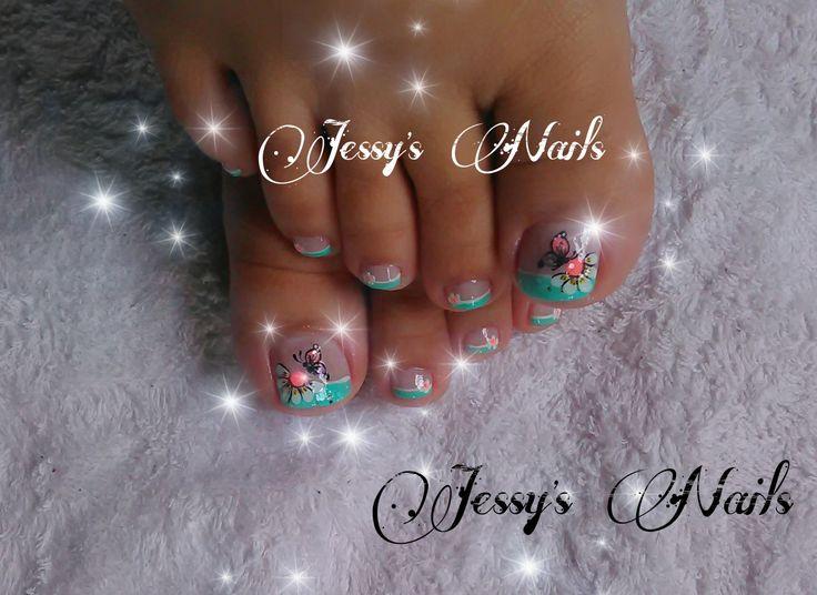 #nail #nails #nailart #uñas #uhas  #decoradas #decoracion #mariposas #flores #pies #uñasdecoradasmariposas