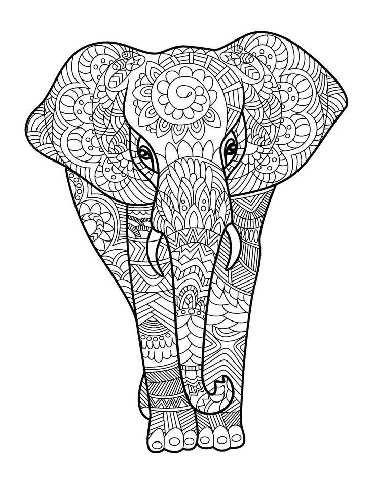 Mejores 135 imágenes de Coloring: Elephants en Pinterest   Elefantes ...