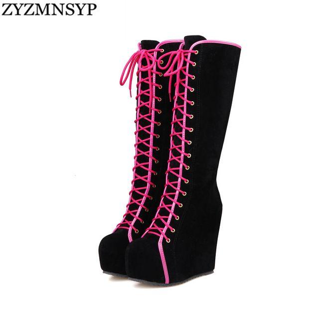 PUboot ZYZMNSYP Moda nubuck Inverno Mulheres joelho Plataforma alta botas de montaria Mulher Preto rosa sapatos Aumento Da Altura Da sapata das senhoras