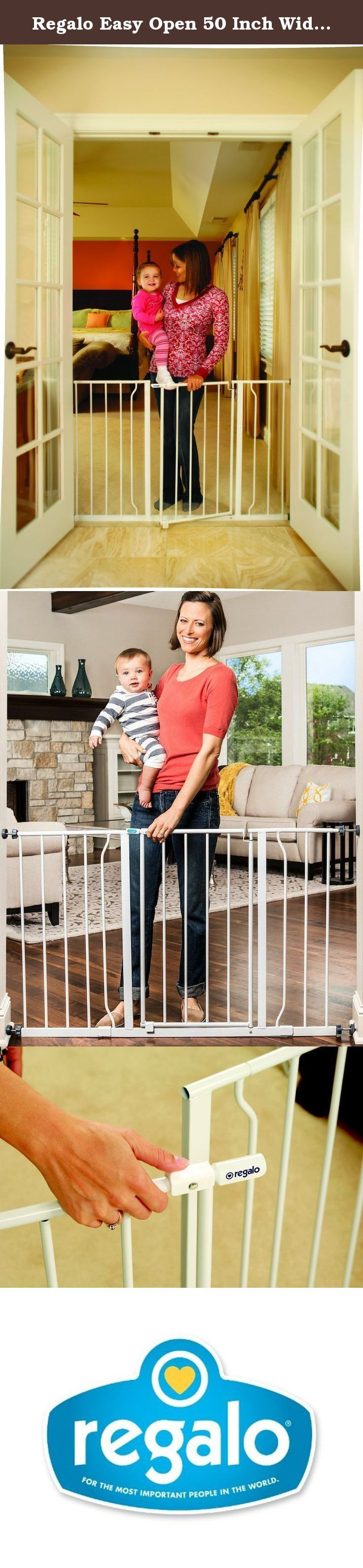 Regalo Easy Open 50 Inch Wide Baby Gate, Pressure Mount with 2 Included Extension Kits. View larger One touch release Sturdy Steel Construction with Secure Pressure Mounts The Easy Open Extra Wide Safety Gate boasts 100 percent steel construction for durability and strength, providing security you can rely on for those moments when you can't be within arm's reach of your child. It installs quick, requiring no tools with four pressure mounts that are each individually adjustable to provide…