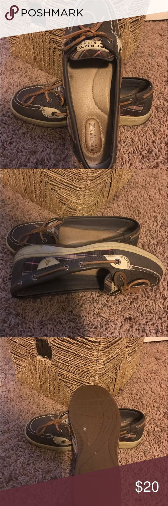 Sperry Top sider shoes These are brown, tan and pink Sperry Top Siders. They are size 7.5M. They just hurt my feet. Sperry Top-Sider Shoes Flats & Loafers