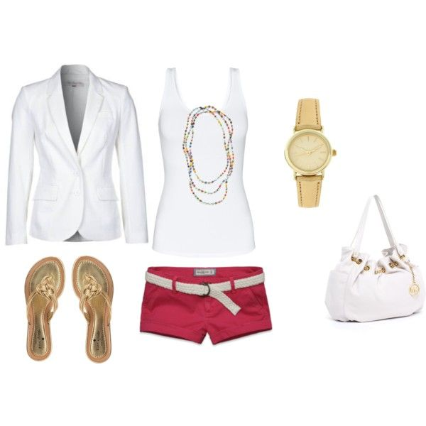 Red Shorts and White Michael Kors Purse :)