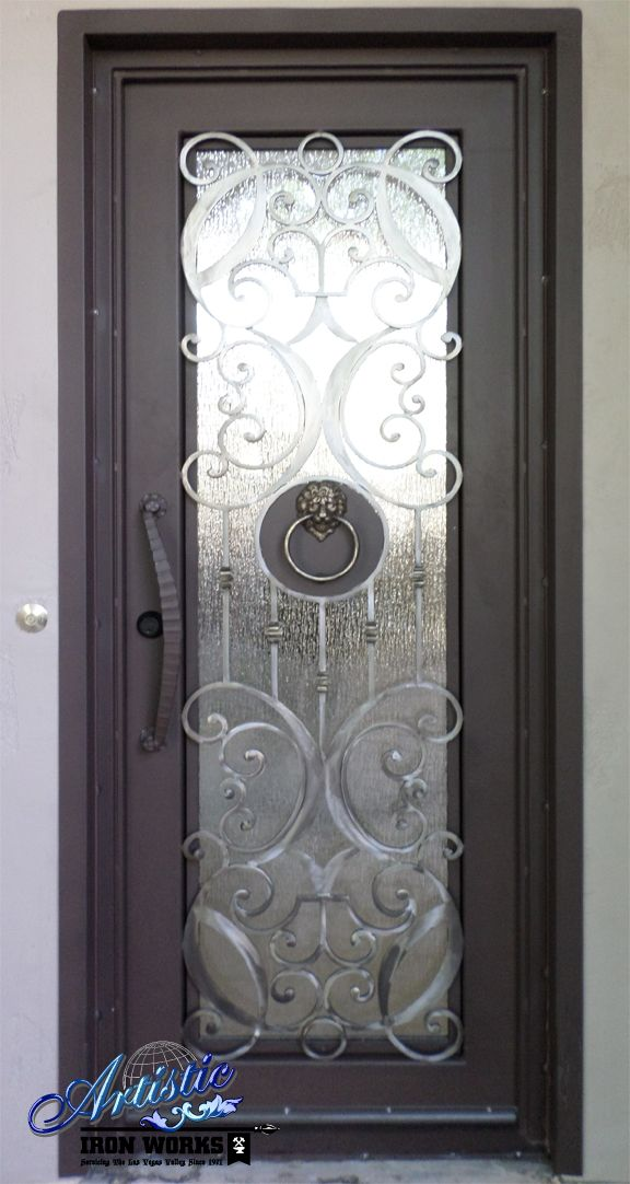 Iron \u0026 Glass Front Entry Door with Lion\u0027s Head Door Knocker Model: Glasgow & 66 best Wrought Iron Grand Entryways images on Pinterest | Wrought ... Pezcame.Com