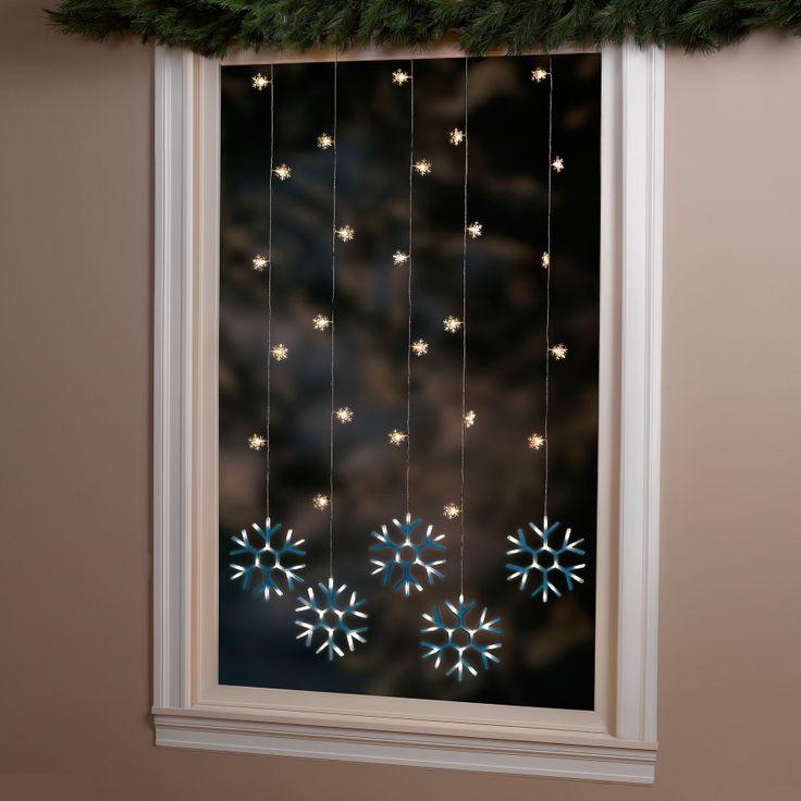 Pre-Lit LED Snowflake Curtain Lights | Christmas | Pinterest